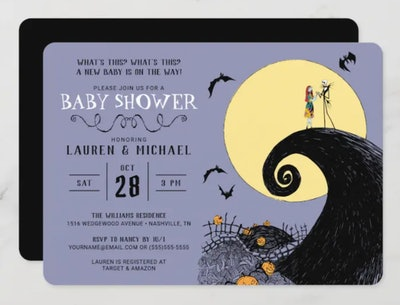 """Halloween baby shower invitation; """"A Nightmare Before Christmas"""" theme with Jack and Sally in front ..."""