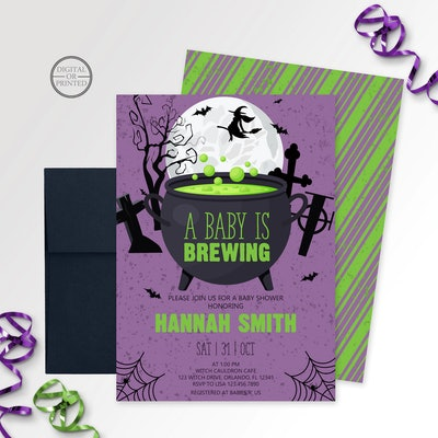 """Halloween Baby Shower Invite; """"A baby is brewing"""" theme with witch flying across a moon"""