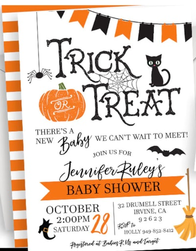 """Halloween baby shower invitation; """"Trick or Treat"""" across the top with orange and black graphics spr..."""