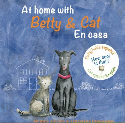 a bilingual spanish/  english book color showing a drawing of a cat and a dog side-by-side