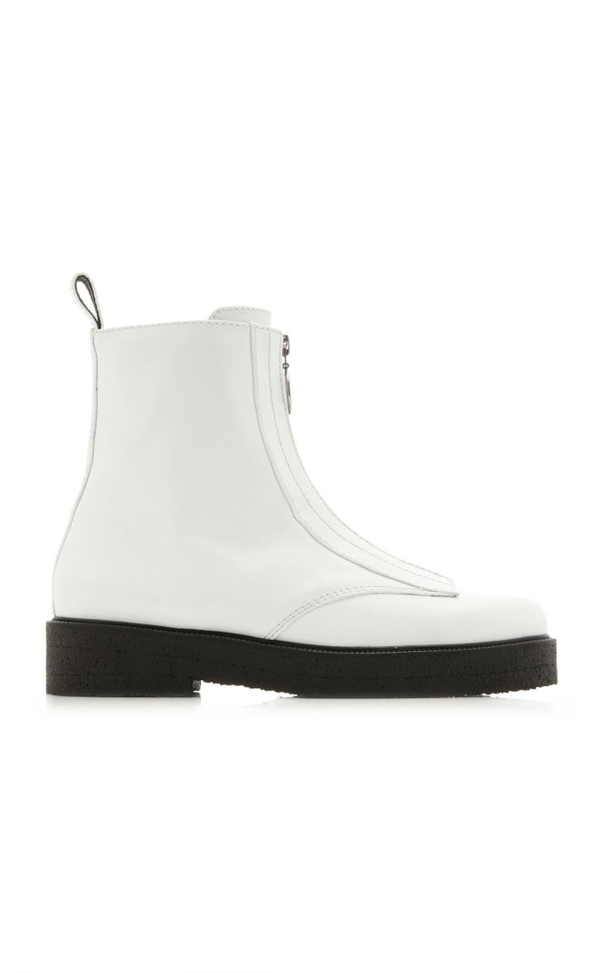 White Palermo Zipped Leather Ankle Boots from STAUD, available to shop on Moda Operandi.