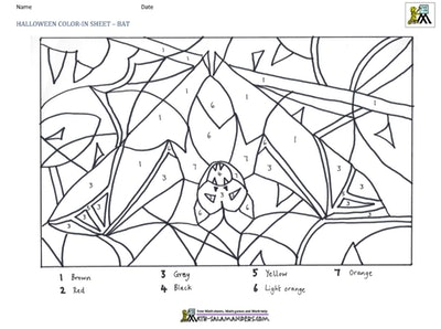 Halloween color-in sheet with bat will help your child identify numbers
