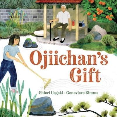 Illustration of a girl raking a Japanese rock garden.