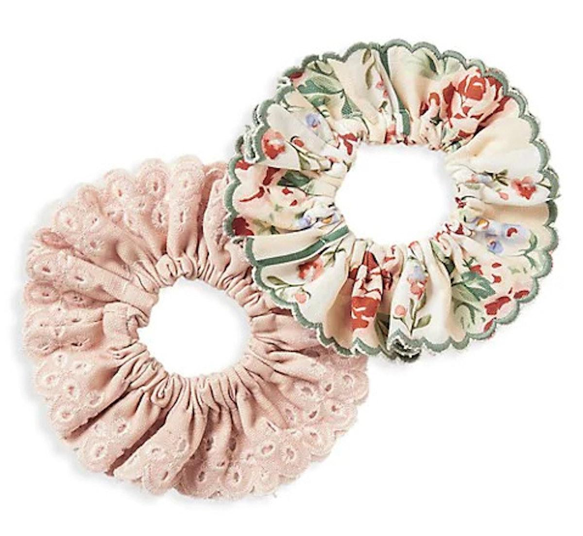 Broderie Anglais 2-Piece Scrunchie Set
