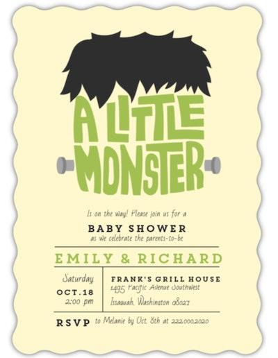 "Halloween baby shower invitation; ""A Little Monster"" written out to look like Frankenstein's head"