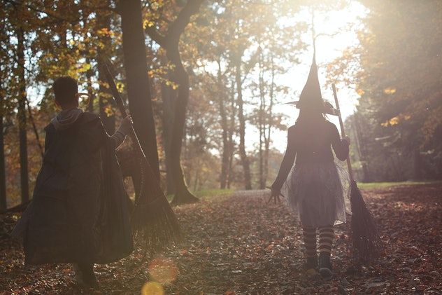 Kids dressed up in Halloween costumes, walking in wooded area, towards the sun