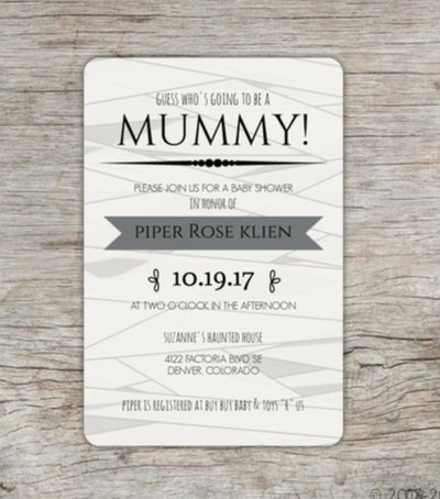"""Halloween baby shower invite; """"Mummy"""" theme with graphics that look like the invitation is wrapped u..."""
