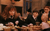 Harry Potter and Hermione enjoy a Halloween feast, like some TikTok recipes.