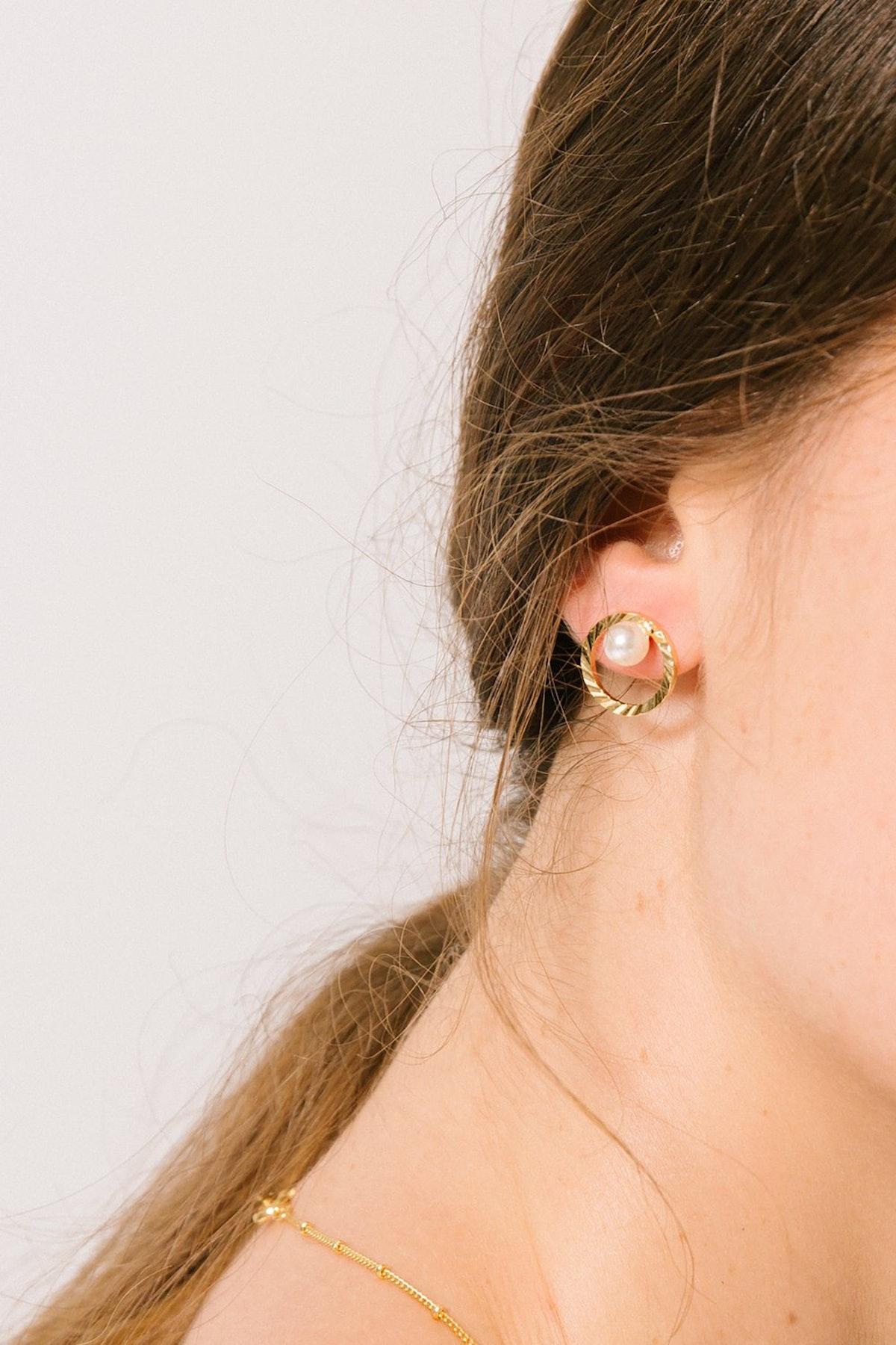 """Noemi"" Gold Plated Hoop with Pearl Stud Earring"