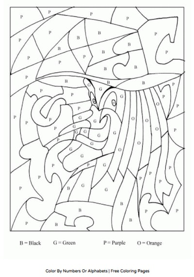 Color-by-number worksheet that reveals the image of a witch for Halloween