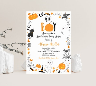 """Halloween baby shower invitation; """"Oh Boy!"""" with black cats, pumpkins, and ghosts bordering the invi..."""