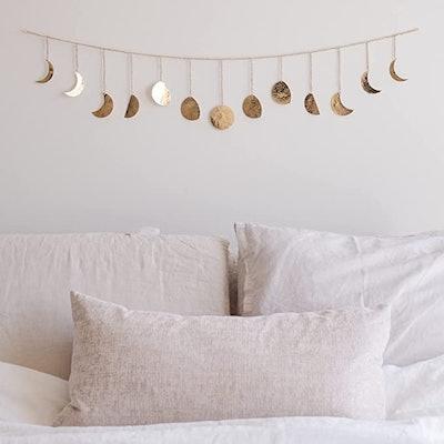 Moon Phase Wall Hanging Handmade Gold Moons