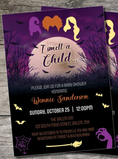 """Halloween baby shower invite; """"Hocus Pocus"""" theme with Sanderson sister graphicss"""