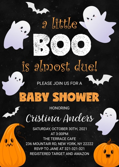 Halloween baby shower invite; Black invitation with white ghosts and orange pumpkins