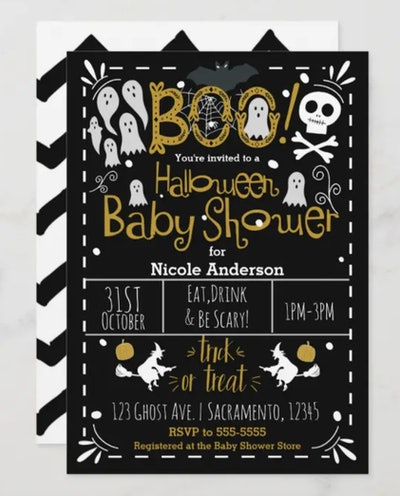 Halloween baby shower invitation; black with white writing, skulls, and ghosts