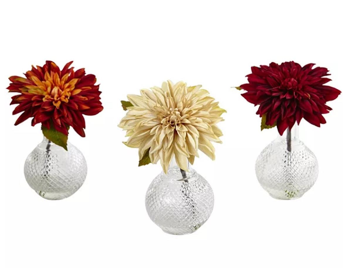 Dahlia w/Decorative Vase, Set of 3