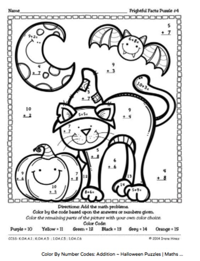 Halloween color-by-number sheet with math problems