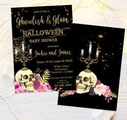 Front and back of Halloween baby shower invitation with a skull and candelabra