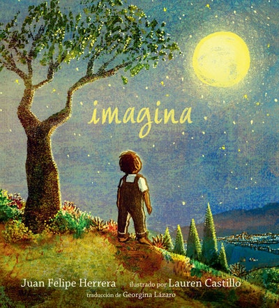 cover of Imagina Spanish children's book featuring a little boy looking at the moon