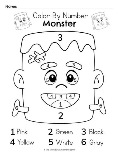 color-by-number monster worksheet is a great activity for younger kids