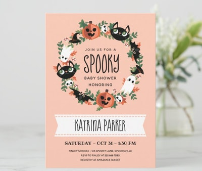 """Halloween baby shower invitation; """"Spooky"""" theme with a cute wreath boarder"""