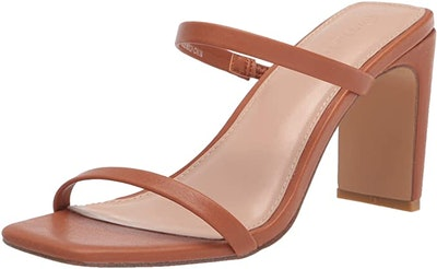 The Drop Avery Square Toe Two Strap High Heeled Sandal
