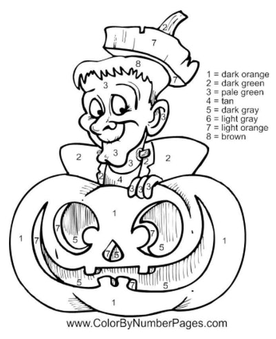 Frankenstein's monster and a pumpkin in a color-by-number Halloween worksheet
