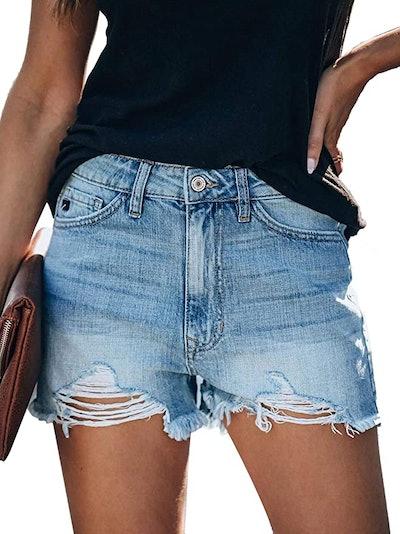 Govc High Rise Ripped Jean Shorts