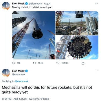 """Elon Musk's suggestion for how """"Mechazilla"""" will move ships."""