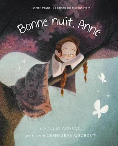 """Cover art for children's book """"Bonne Nuit, Anne,"""" little girl sleeping on a tree branch"""