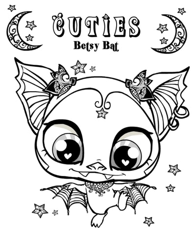 """Bat coloring page; bat with lots of details, """"cuties"""" and """"betsy bat"""" written at the top of the page"""