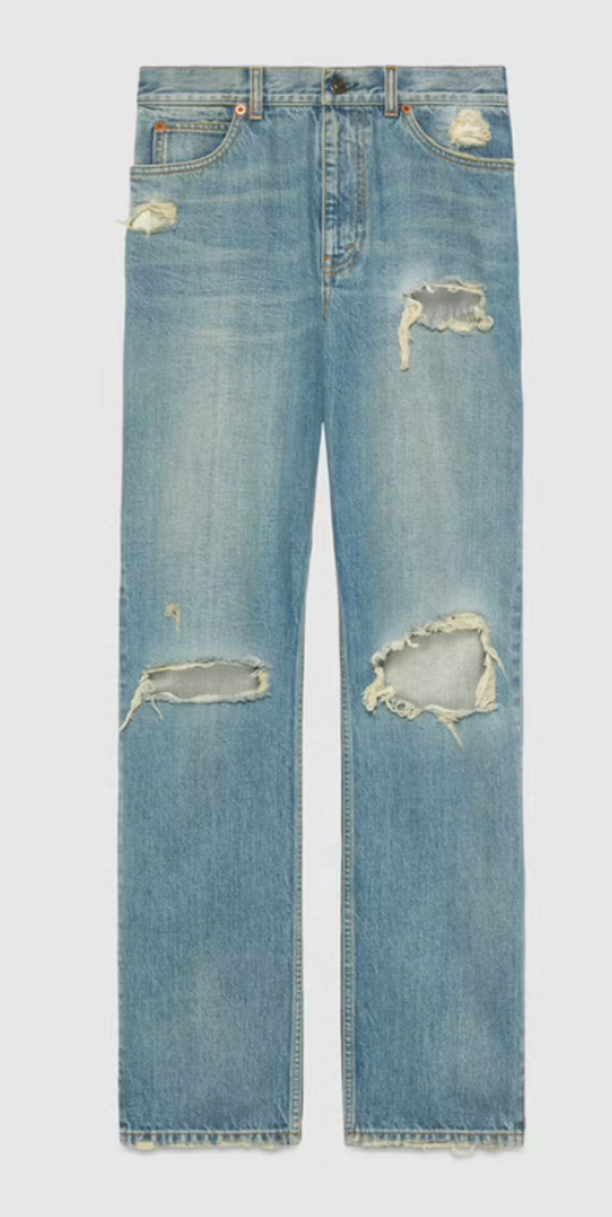 Gucci's distressed jeans in the color eco wash.