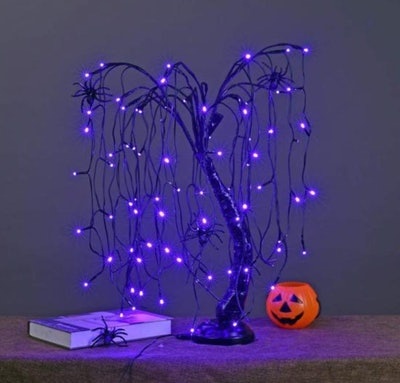 2 ft. Purple Pre-Lit LED Artificial Christmas Tree Halloween Willow Tree