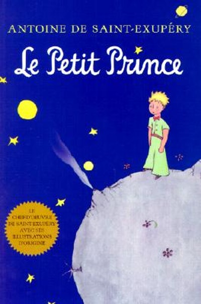 """Cover art for """"Le Petit Prince""""; boy standing on the moon in the night"""