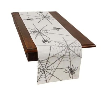 Halloween Spider Web Double Layer Table Runner in White