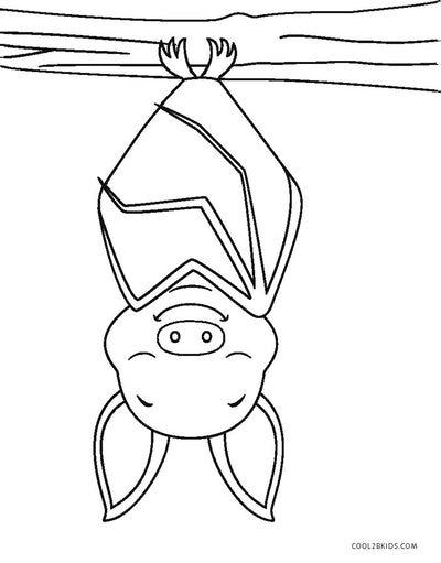 Bat coloring page; bat sleeping upside down, smiling