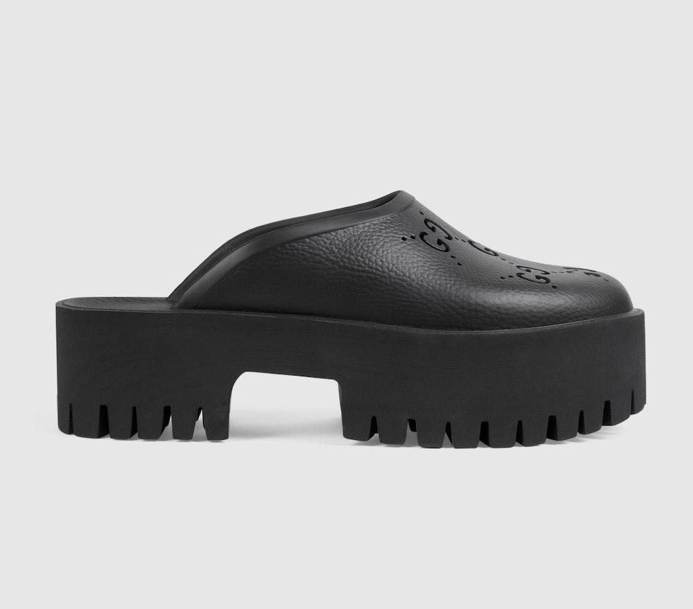 Platform perforated G sandal