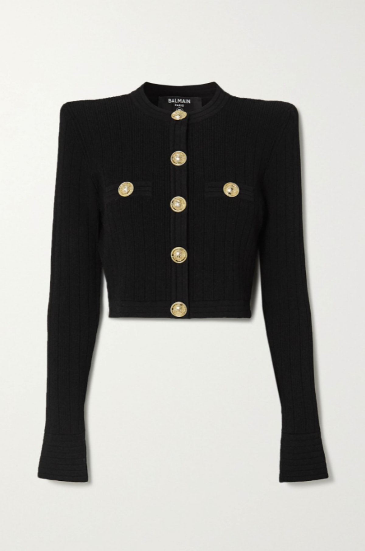 Balmain's cropped jacquard-knit blazer with gold embellished buttons.