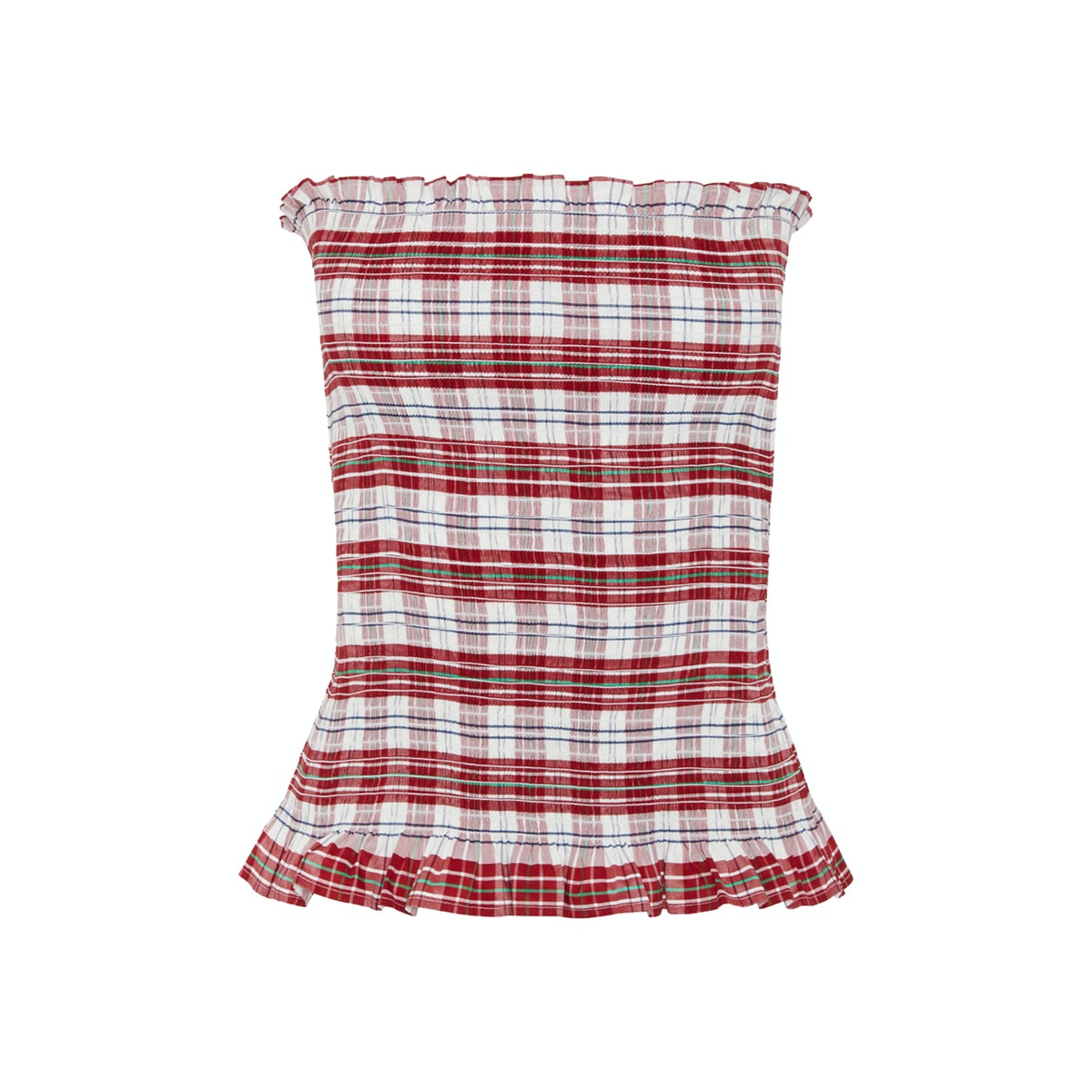 Molly Goddard Kim Strapless Ruffled Shirred Top