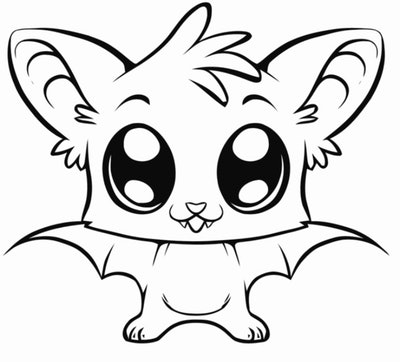 Bat coloring page; close up of bat with big eyes and cute little face