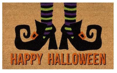 Happy Halloween Witches Feet 18 in x 30 in Coir Door Mat