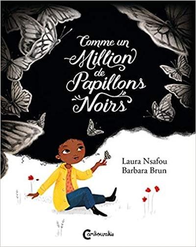 "Cover art for ""Comme Un Million De Papillons Noirs""; Little girl playing with butterflies"