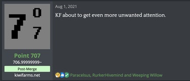 """A post from Kiwi Farms that says """"KF about to get even more unwanted attention."""""""
