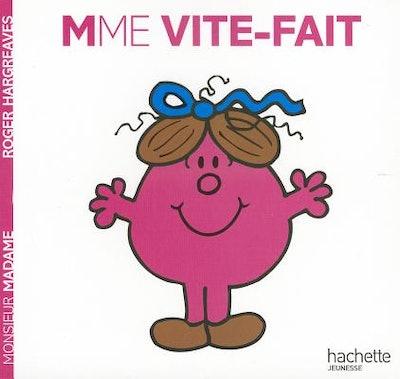 "Cartoon book cover for ""Madame Vite-Fait"" children's book"