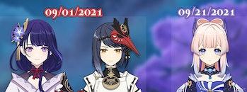 Genshin Impact 2.1 Banners Sara Baal Raiden Shogun Kokomi