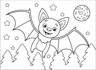 Bat coloring page; bat flying through the air, smiling
