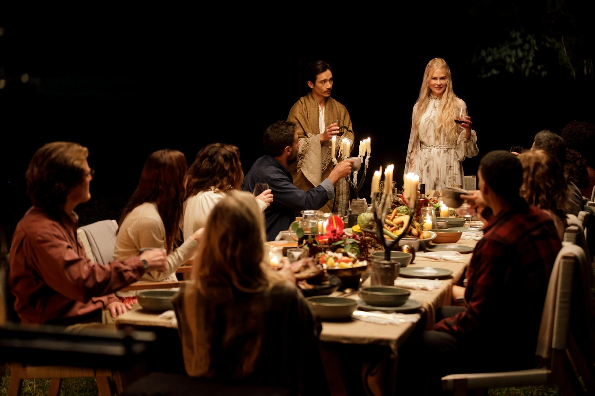 The cast of Hulu's 'Nine Perfect Strangers' have a feast during Episode 3