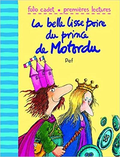 "Cover art for ""La belle lisse poire du prince de Motordu"", a king and a princess walking together"