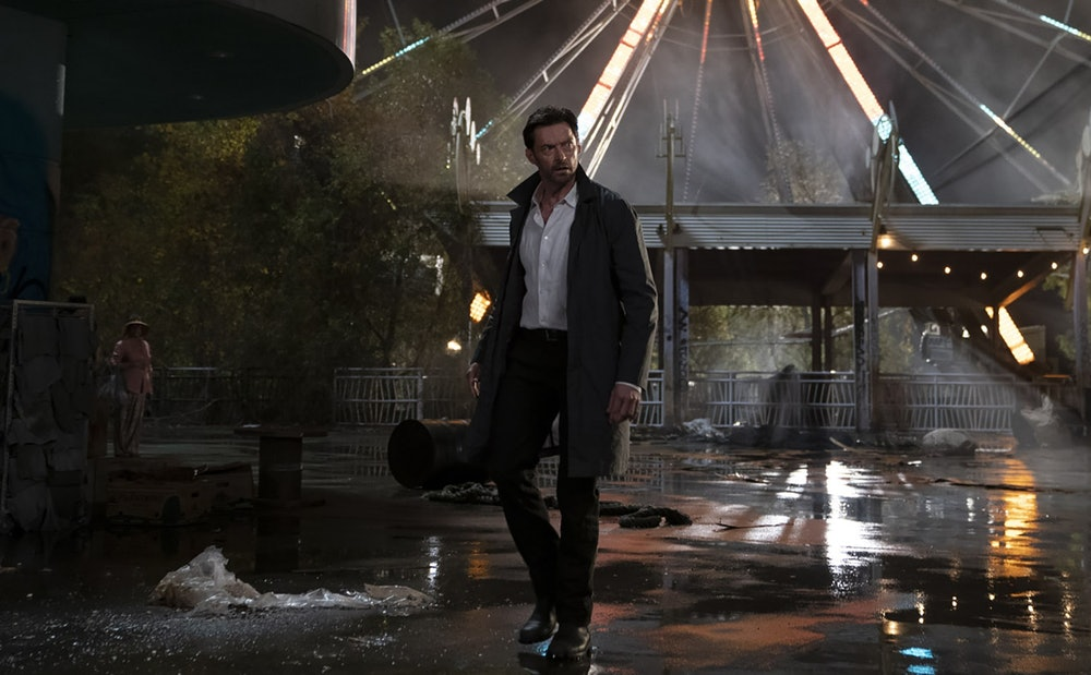 Hugh Jackman in an abandoned amusement park in Reminiscence