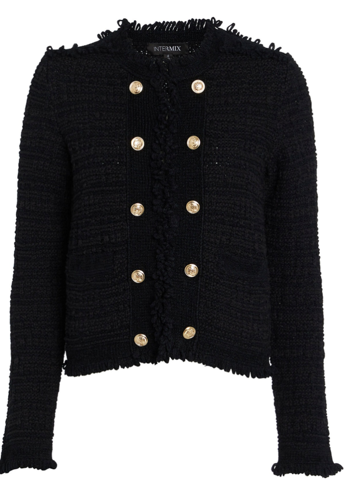 INTERMIX Lila Cropped Knit Jacket with gold buttons.